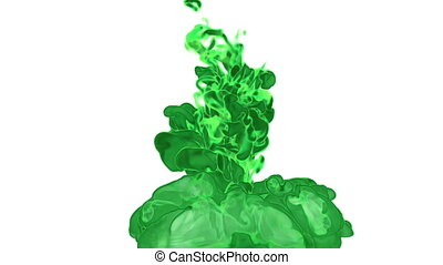 Dissolve dye or green ink in water or fume in air for effects and compositing with alpha mask. Use it for background, transition or overlays. 3d motion graphics element VFX ink or smoke. Ver 1