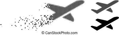 Dissolved Dot Halftone Airplane Takeoff Icon