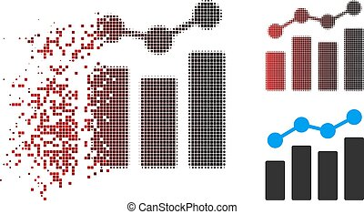 Dissolved Dot Halftone Analytics Icon with Face