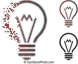 Dissolved Dot Halftone Electric Bulb Icon
