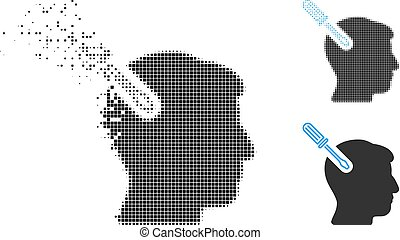 Dissolved Dot Halftone Head Surgery Screwdriver Icon - Head ...