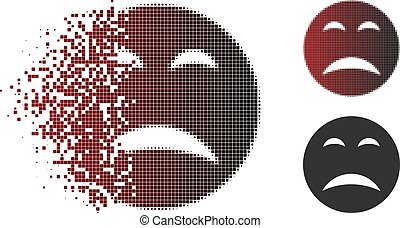 Pity smiley icon in sparkle, dotted halftone and undamaged solid versions. Particles are organized into vector disappearing pity smiley figure.