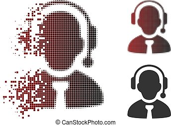 Dissolved Dotted Halftone Call Center Boss Icon