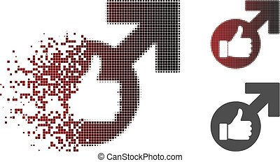 Dissolved Dotted Halftone Excellent Erection Symbol Icon -...