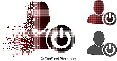 Dissolved Dotted Halftone User Log Off Icon