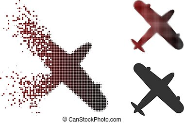 Dissolved Pixel Halftone Aeroplane Icon