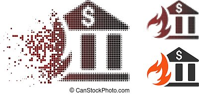 Dissolved Pixel Halftone Bank Fire Disaster Icon - Vector...