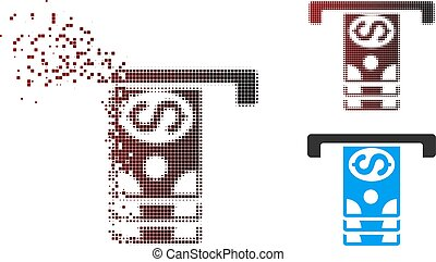 Dissolved Pixel Halftone Banknotes Withdraw Icon - Vector...