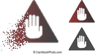 Dissolved Pixel Halftone Caution Icon