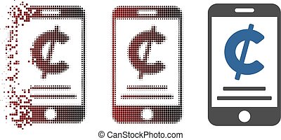 Dissolved Pixel Halftone Cent Mobile Payment Icon