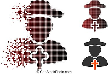 Dissolved Pixel Halftone Cleric Icon - Vector cleric icon in...