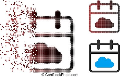 Dissolved Pixel Halftone Cloudy Day Icon - Vector cloudy day...