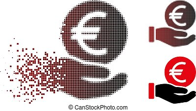 Dissolved Pixel Halftone Euro Coin Payment Icon