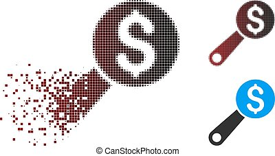 Dissolved Pixel Halftone Financial Audit Icon - Vector...