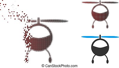 Dissolved Pixel Halftone Helicopter Icon