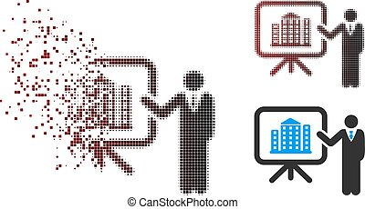 Dissolved Pixel Halftone House Presentation Icon - Vector...