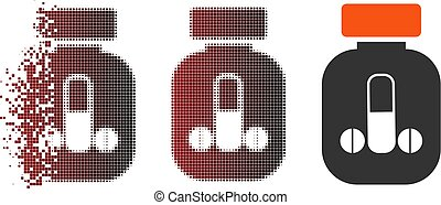 Dissolved Pixel Halftone Male Power Pills Vial Icon - Vector...