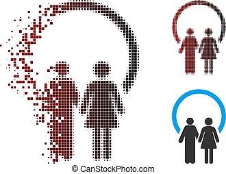 Dissolved Pixel Halftone Marriage Icon