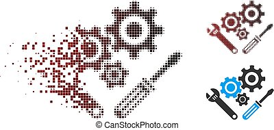 Dissolved Pixel Halftone Mechanics Tools Icon