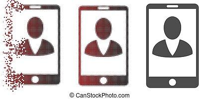 Dissolved Pixel Halftone Mobile User Profile Icon