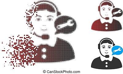 Dissolved Pixel Halftone Service Center Woman Icon