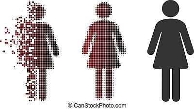 Dissolved Pixel Halftone Woman Icon