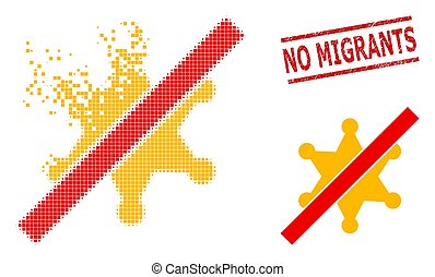 Dissolved Pixel No Sheriff Star Icon and Grunge No Migrants Seal
