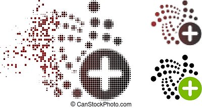 Append Iota icon in dispersed, pixelated halftone and undamaged solid versions. Fragments are organized into vector sparkle append Iota icon.