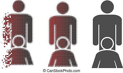Oral sex persons icon in dispersed, dotted halftone and undamaged whole versions. Fragments are arranged into vector disappearing oral sex persons figure.