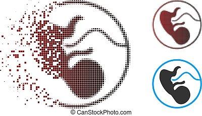 dissolver, embrião, ícone, halftone, pixel