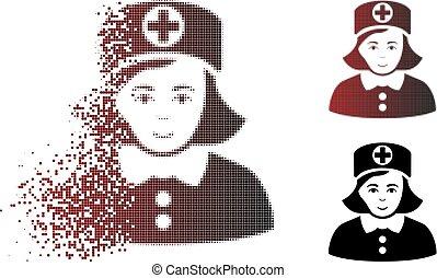 dissolver, halftone, enfermeira, ponto, ícone