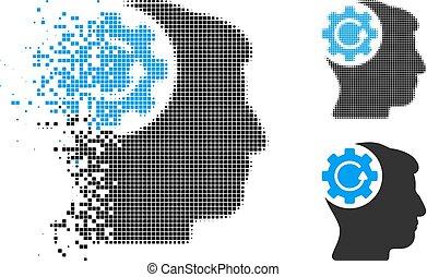 dissolver, pixelated, halftone, intelecto, engrenagem, rotação, ícone