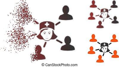 dissolvido, halftone, pacientes, pixelated, enfermeira, ligado, ícone
