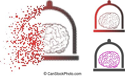 Dissolving Dot Halftone Brain Conservation Icon