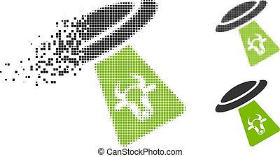 Dissolving Dot Halftone Cattle UFO Abduction Icon