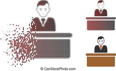 Dissolving Dot Halftone Office Clerk Icon - Office clerk...