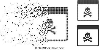 Dissolving Dot Halftone Poison Skull Calendar Page Icon -...
