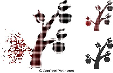 Dissolving Dotted Halftone Apple Tree Icon