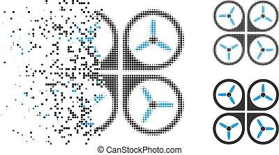 Dissolving Dotted Halftone Quadrotor Icon - Quadrotor icon...