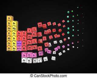 dissolving periodic table on black background. cubes colored by element groups. 3d illustration