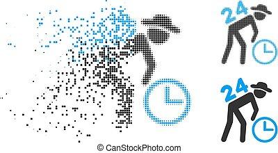 Dissolving Pixel Halftone Around The Clock Working Gentleman Icon