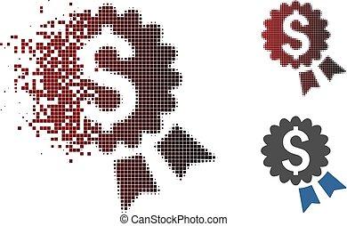 Dissolving Pixel Halftone Banking Award Seal Icon