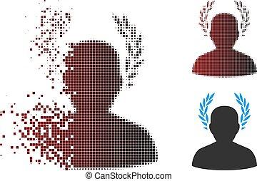 Dissolving Pixel Halftone Caesar Icon - Vector caesar icon...
