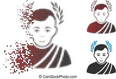 Dissolving Pixel Halftone Caesar Wreath Icon - Vector caesar...