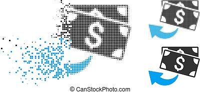 Dissolving Pixel Halftone Cashback Icon