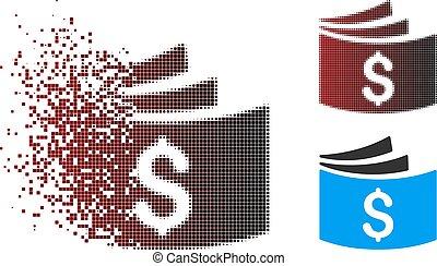 Dissolving Pixel Halftone Checkbook Icon - Vector checkbook...