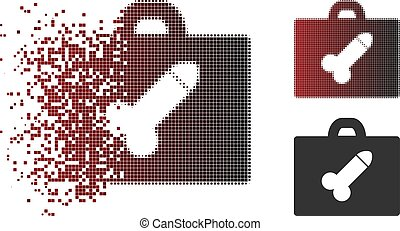 Dissolving Pixel Halftone Dildo Toolbox Icon - Vector dildo...