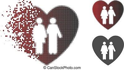 Dissolving Pixel Halftone Family Love Heart Icon