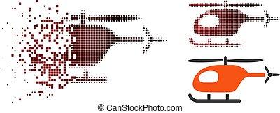 Dissolving Pixel Halftone Helicopter Icon