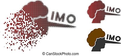 Dissolving Pixel Halftone IMO Lier Icon - IMO lier icon in...